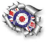 Ripped Torn Metal Design & Distressed MOD Union Jack Flag External Vinyl Car Sticker 105x130mm